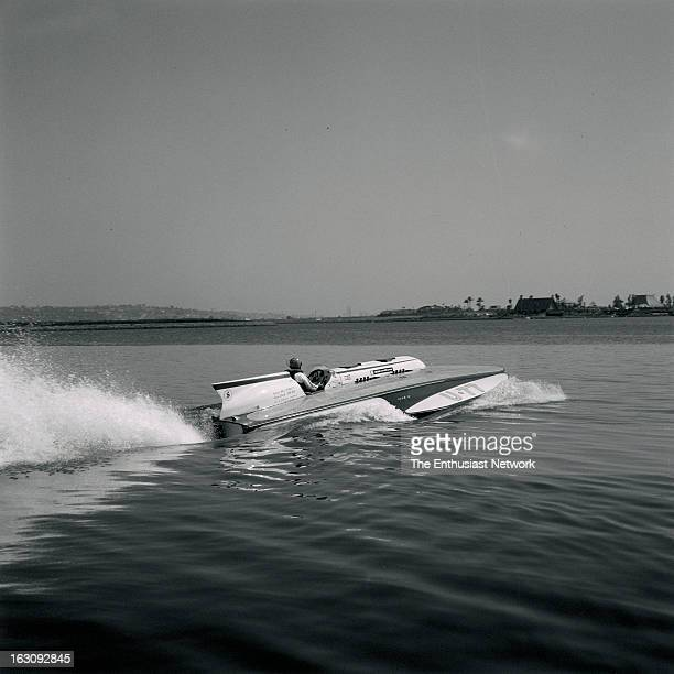 American Power Boat Association APBA San Diego Cup Hydroplane Race Mission Bay California Miss Chrysler Crew U77 with Bill Sterett at the helm powers...