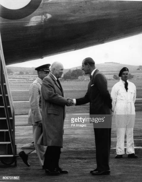 American President Dwight D Eisenhower being welcomed at Dyce Airport Aberdeen by the Duke of Edinburgh when he arrived for a visit to Balmoral