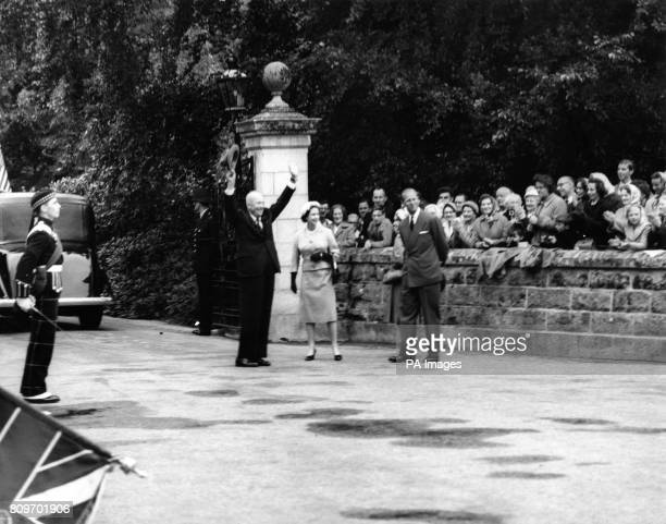 American President Dwight D Eisenhower with Queen Elizabeth II and the Duke of Edinburgh when he arrived for a visit to Balmoral