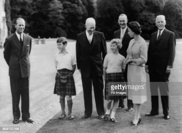 American President Dwight D Eisenhower with Queen Elizabeth II the Duke of Edinburgh Prince of Wales Princess Anne Major John Eisenhower and...