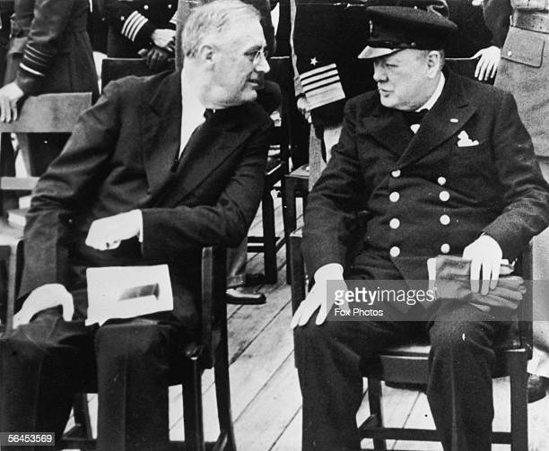 American president Franklin Delano Roosevelt meets British prime minister Winston Churchill for a church service on board the HMS Prince of Wales in...