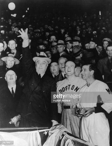 American President Franklin Delano Roosevelt throws the ball into play at a baseball match Original Publication People Disc HU0123