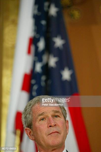 American President George W Bush at a press conference at the Foreign Office London England November 20 2003