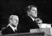 American president Gerald Ford listens as future American president Ronald Reagan delivers a speech during the closing session of the Republican...