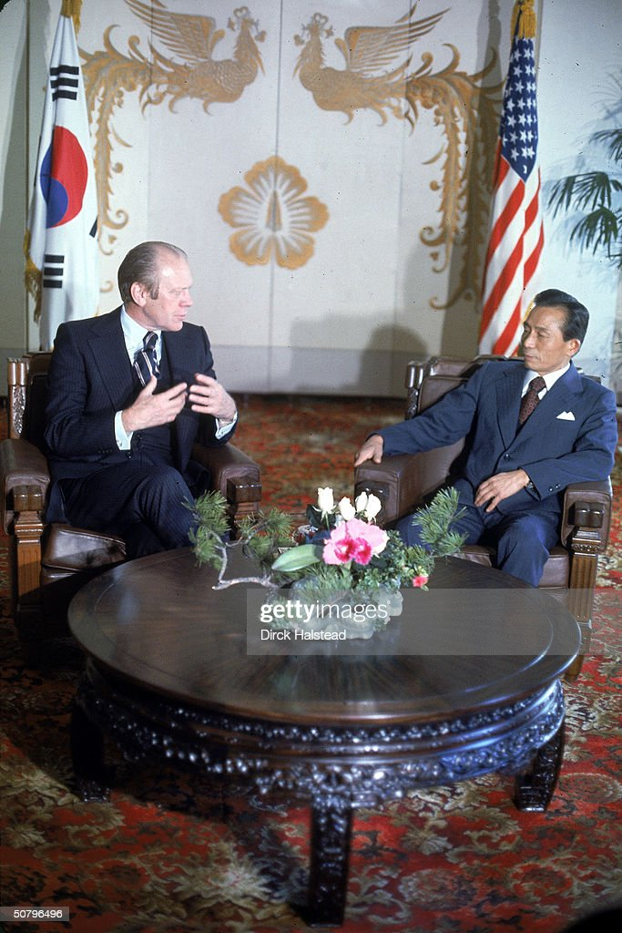 American President Gerald Ford speaks with Korean Prime Minister Park Chung Hee during a state visit Seoul South Koream November 1974