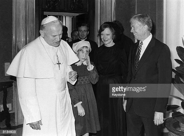 American president Jimmy Carter and his wife Rosalyn and daughter Amy meet Polish Pope John Paul II in Rome Italy July 15 1976