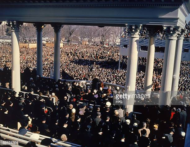 American president John F Kennedy addresses the crowd at his inauguration Washington DC January 20 1961