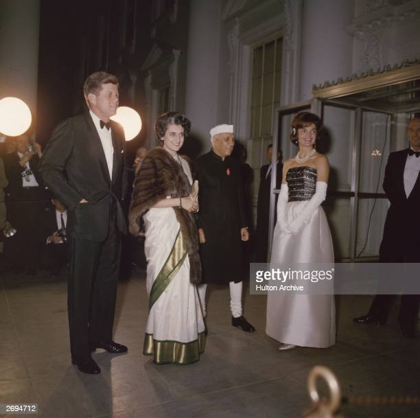 American president John F Kennedy with his wife Jackie Indian prime minister Jawaharlal Nehru and Nehru's daughter Indira Gandhi