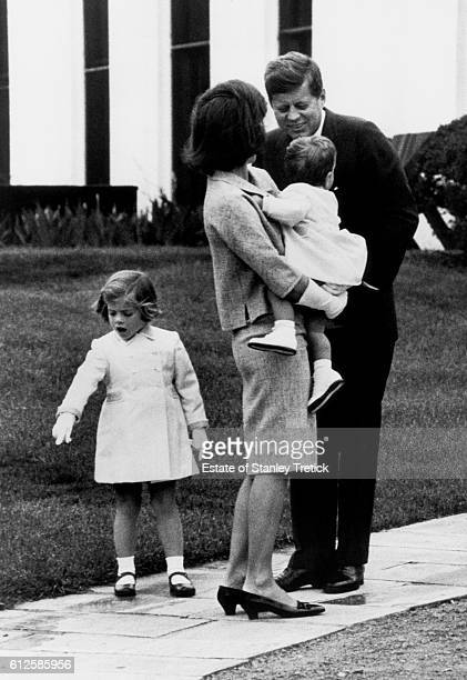 American President John F Kennedy with his wife Jacqueline Lee 'Jackie' Bouvier and children Caroline and JohnJohn at the White House