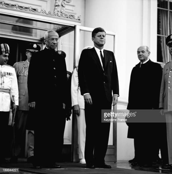 American President John Fitzgerald Kennedy welcoming the Indian President Sarvepalli Radhakrishnan at the White House on June 8 1963 in Washington DC...