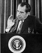 American President Richard Nixon giving a press conference
