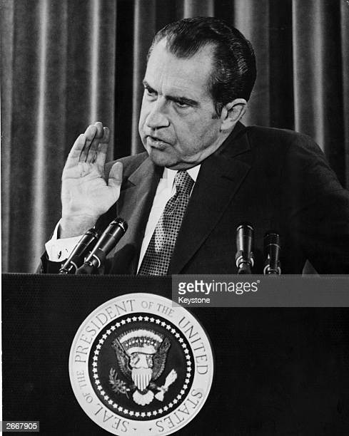 American President Richard Nixon giving a press conference