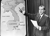 American president Richard Nixon points to a map of Southeast Asia during a nationwide broadcast Viet Nam War
