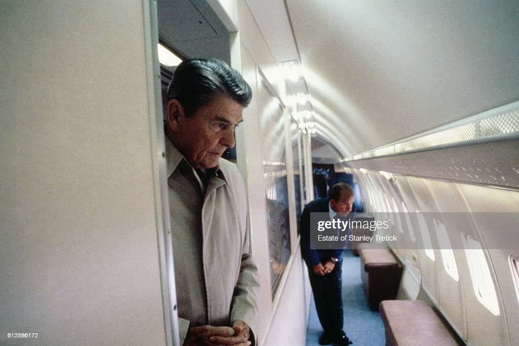 American president Ronald Reagan in the presidential aircraft.