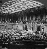 American President Woodrow WILSON addressing a message of war against Germany to the representatives and senators in the House of Representatives in...