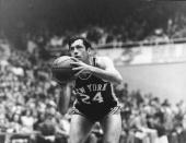 American professional basketball player Bill Bradley forward for the New York Knicks prepares to make a shot 1969 In 1979 Bradley became a US senator...