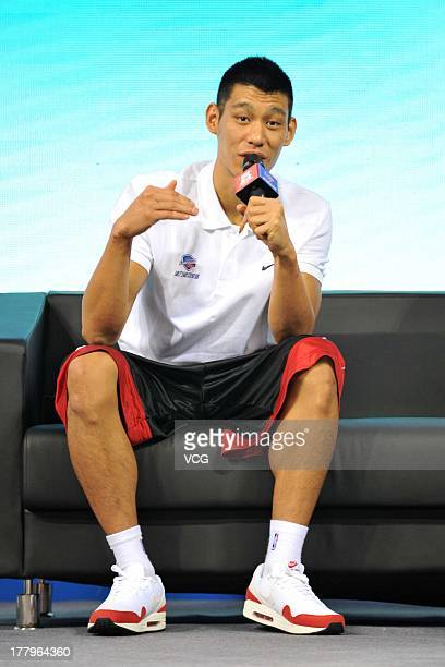 American professional basketball player Jeremy Lin of the Houston Rockets talks to young kids at a Jeremy Lin Basketball Camp at MasterCard Center on...
