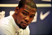 American professional basketball player Kevin Durant of Oklahoma City Thunder attends a commercial event fo Nike on July 15 2013 in Shenyang Liaoning...