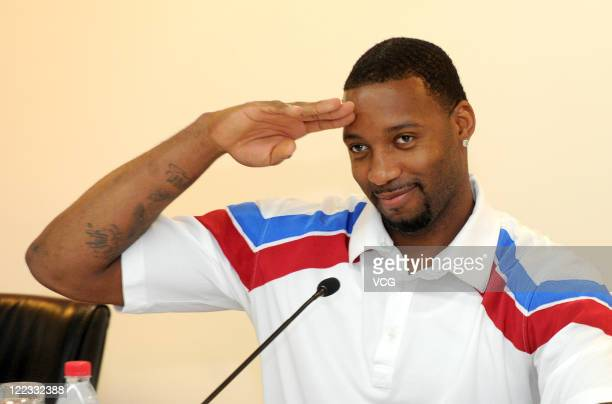 American professional basketball player Tracy McGrady of the Detroit Pistons looks on during a press conference on August 26 2011 in Hefei Anhui...