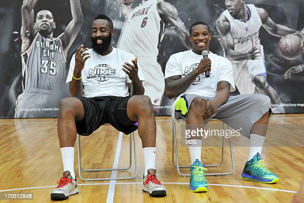 American professional basketball players James Harden of Houston Rockets and Eric Bledsoe of Los Angeles Clippers attend a training session of the...