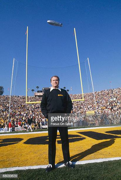 American professional football coach Chuck Noll of the Pittsburgh Steelers poses in the end zone on the day of Super Bowl XIV against the Los Angeles...