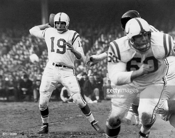 American professional football player Johnny Unitas quarterback for the Baltimore Colts looks to pass the ball during the NFL Championship game...