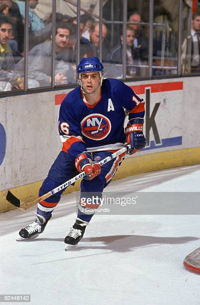 American professional hockey player Pat LaFontaine of the New York Islanders plays in a road game at Madison Square Garden New York New York 1992
