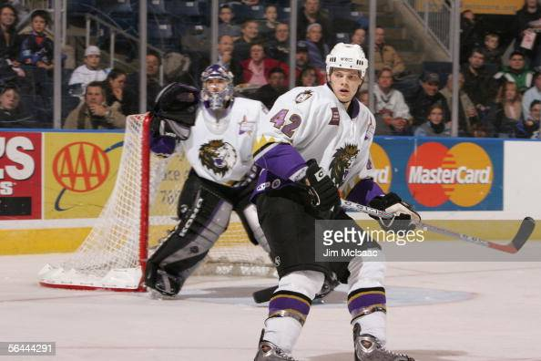 American professional hockey player Tim Gleason of the Manchester Monarchs skates on the ice during a game at the Arena at Harbor Yard in...