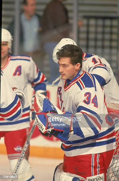 American professional ice hockey player John Vanbiesbrouck goalie of the New York Rangers on the ice Madison Square Garden New York 1980s...