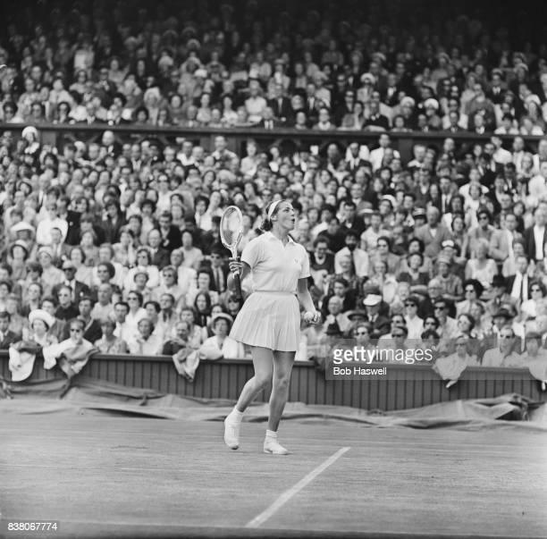 American professional tennis player Billie Jean King at 1963 Wimbledon women's singles semifinals vs Ann HaydonJones London UK 5th July 1963