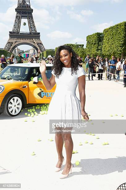 American professional tennis player Serena Williams attends a photocall to promote the movie 'Pixels' on May 22 2015 in Paris France