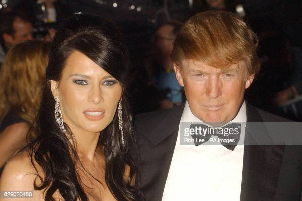 American property tycoon Donald Trump and Melania Knauss arrives for the Costume Institute Gala celebrating Dangerous Liasons Fashion Furniture in...