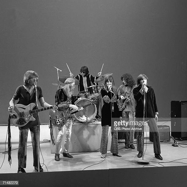 American psychedelic rock band Jefferson Airplane performs on an episode of the CBS Television variety show 'The Ed Sullivan Show' New York New York...