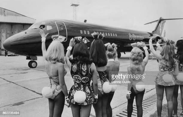 American publisher Hugh Hefner arrives at London Airport in his private DC9 jet airliner 'Big Bunny' and is met by an entourage of Playboy Bunnies...