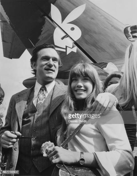 American publisher Hugh Hefner arrives at London Airport in his private DC9 jet airliner 'Big Bunny' with his girlfriend Barbi Benton 29th July 1970...