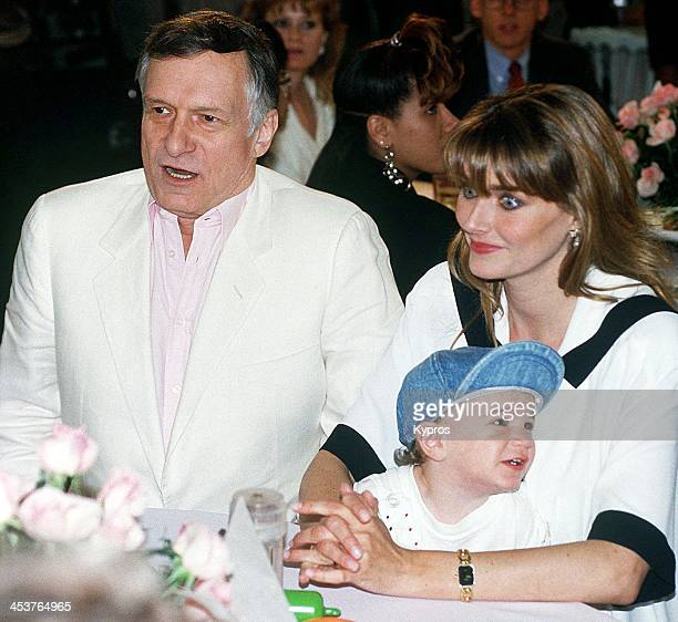 American publisher Hugh Hefner with his wife Playboy Playmate Kimberley Conrad and their son Marston Hefner at the Playboy Playmate Of The Year...