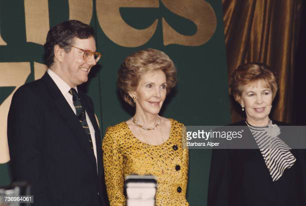 American publishing executive Steve Forbes with former US First Lady Nancy Reagan and Raisa Gorbachev wife of former Soviet leader Mikhail Gorbachev...