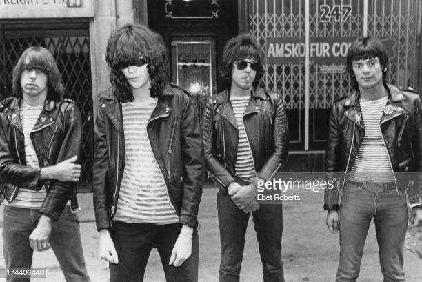 American punk group The Ramones USA 1981 Left to right guitarist Johnny Ramone singer Joey Ramone drummer Marky Ramone and bassist Dee Dee Ramone