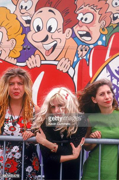 American punk rock band Babes In Toyland at the Dreamland amusement park Margate Kent UK July 1992 Left to right drummer Lori Barbero...