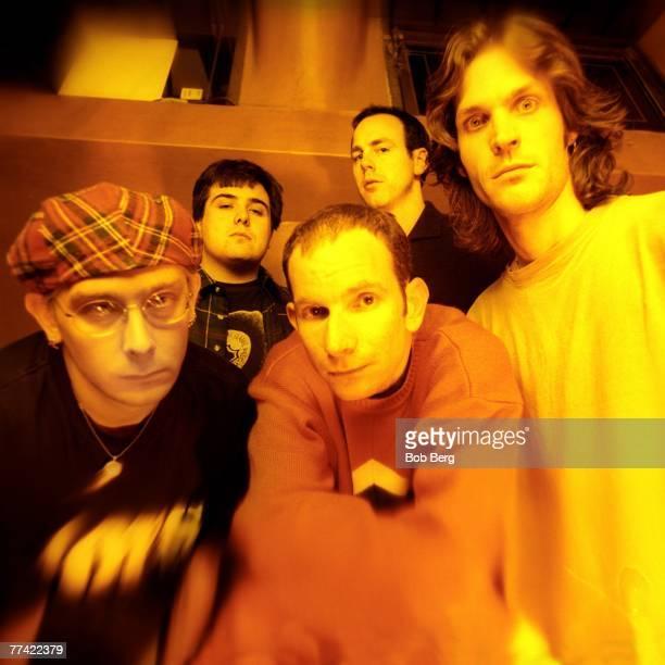 American punk rock band Bad Religion guitarist Brian Baker drummer Bobby Schayer guitarist Gregg Hetson lead vocalist Greg Graffin and bassist Jay...