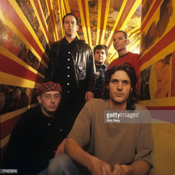 American punk rock band Bad Religion guitarist Brian Baker lead vocalist Greg Graffin drummer Bobby Schayer bassist Jay Bentley and guitarist Gregg...