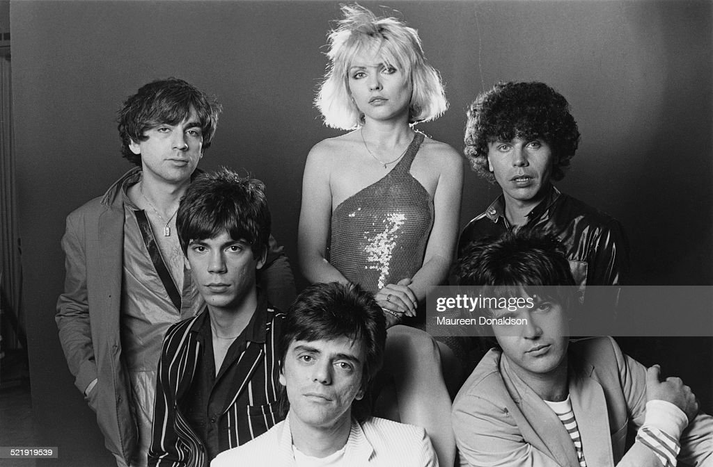 American punk rock band Blondie, 1979. Clockwise from top left, guitarist Chris Stein, singer Debbie Harry, bass player Nigel Harrison, drummer Clem Burke, guitarist Frank Infante and keyboard player Jimmy Destri.