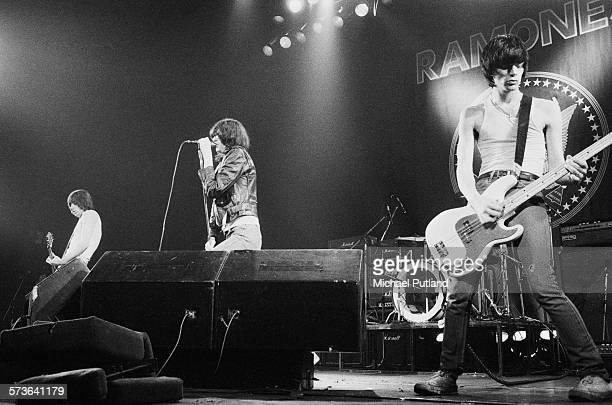American punk rock group The Ramones performing on stage USA circa 1978 Left to right Johnny Ramone Joey Ramone and Dee Dee Ramone