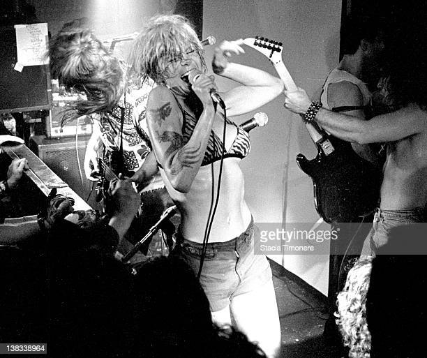 American punk singer Wendy O Williams performing with the Plasmatics at Exit in Chicago Illinois USA 30th April 1987