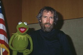 American puppeteer and filmmaker Jim Henson with his bestknown Muppet character Kermit the Frog January 1984