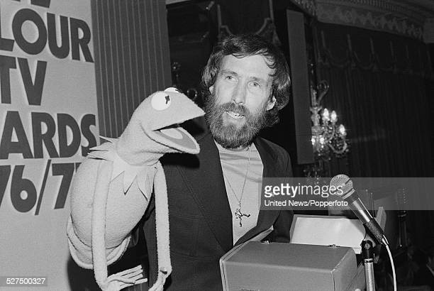 American puppeteer Jim Henson pictured with his creation Kermit the Frog at the Pye TV Awards in London on 23rd May 1977