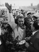 American racing driver Phil Hill wins the Italian Grand Prix at Monza 10th September 1961 His teammate Wolfgang von Trips had crashed his car during...