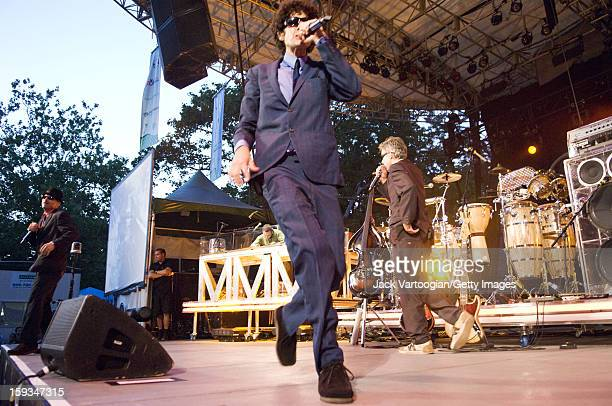 American rap group the Beastie Boys performs at a Benefit for Central Park's SummerStage New York New York August 8 2007 Pictured are Michael Diamond...