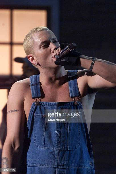 American rap star Eminem performs on stage at the 2001 Brit Awards held at Earls Court Exhibition Centre on February 26 2001 in London