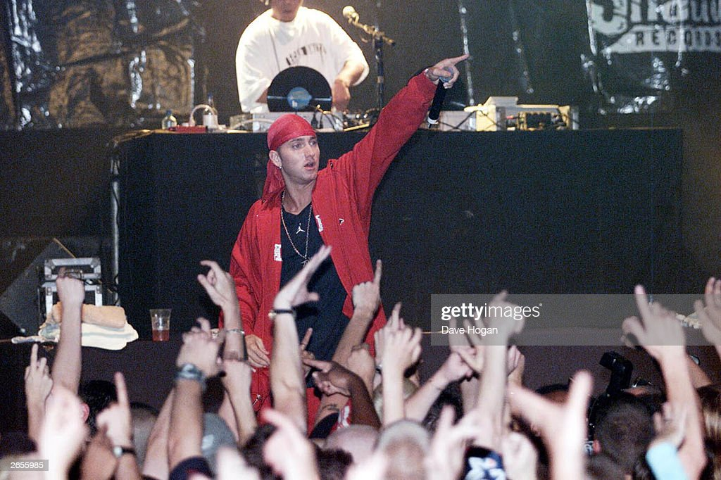 American rap star Eminem performs on stage with 'D 12' as part of their European Tour at the Astoria on July 27, 2001 in London.